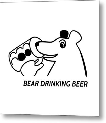 Bear Drinking Beer Metal Print