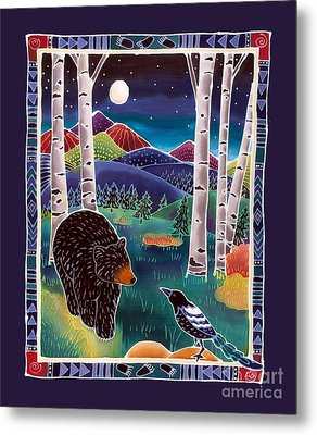 Bear Greets Magpie Metal Print by Harriet Peck Taylor