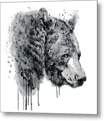 Bear Head Black And White Metal Print