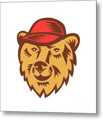 Bear Head Wearing Hat Woodcut Metal Print