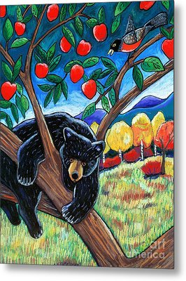 Bear In The Apple Tree Metal Print by Harriet Peck Taylor