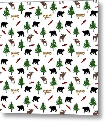 Bear Moose Pattern Metal Print