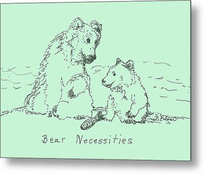 Metal Print featuring the drawing Bear Necessities by Denise Fulmer