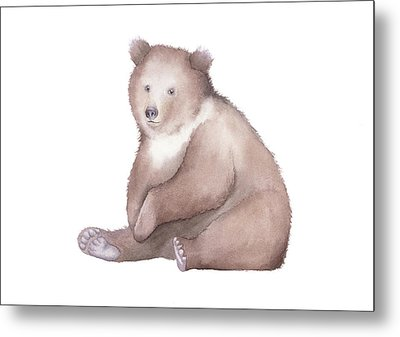 Metal Print featuring the painting Bear Watercolor by Taylan Apukovska