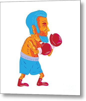 Bearded Boxer Boxing Cartoon Wpa Metal Print by Aloysius Patrimonio