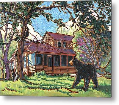 Bears At Barton Cabin Metal Print