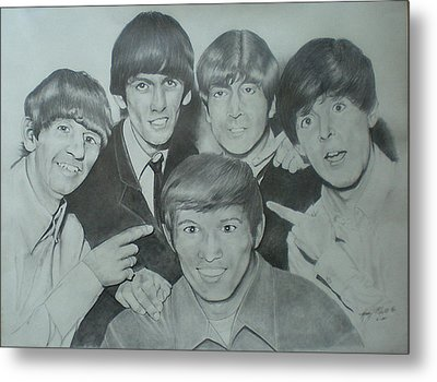 Beatles With A New Friend Metal Print by Randy McFall