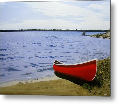 Beaultiful Red Canoe Metal Print by Kenneth M  Kirsch