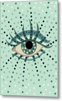 Beautiful Abstract Dotted Blue Eye Metal Print