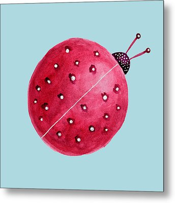 Beautiful Abstract Watercolor Ladybug Metal Print