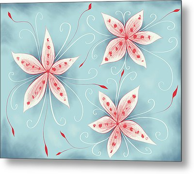 Beautiful Abstract White Red Flowers Metal Print by Boriana Giormova