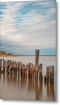Beautiful Aging Pilings In Keyport Metal Print by Gary Slawsky