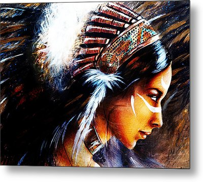 Beautiful Airbrush Painting Of A Young Indian Woman Wearing  Metal Print by Jozef Klopacka