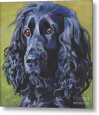 Metal Print featuring the painting Beautiful Black English Cocker Spaniel by Lee Ann Shepard
