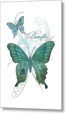 Beautiful Butterflies N Swirls Modern Style Metal Print
