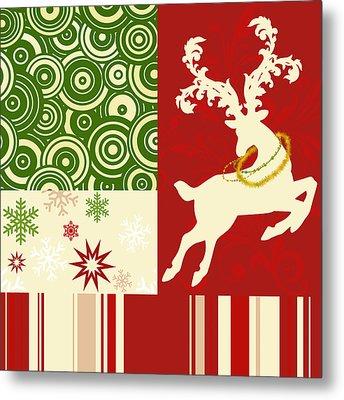 Modern Christmas II Modern Holiday Art Series Metal Print by Tina Lavoie