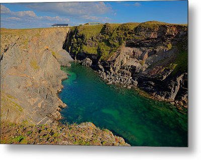 Beautiful Coastal Inlet Turquoise Blue Sea Pepper Cove Between Treyarnon And Porthcothan From Path Metal Print by Michael Charles