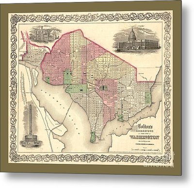 Beautiful Collectable Vintage Wall Map Of Old Washington Dc With Landmarks And Monuments Metal Print by Pd