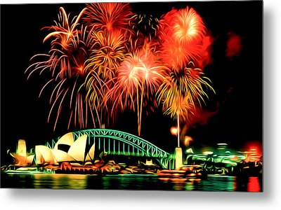 Beautiful Colorful Holiday Fireworks 2 Metal Print by Lanjee Chee