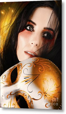 Beautiful Female Performer Face. Perfect Makeup Metal Print by Jorgo Photography - Wall Art Gallery