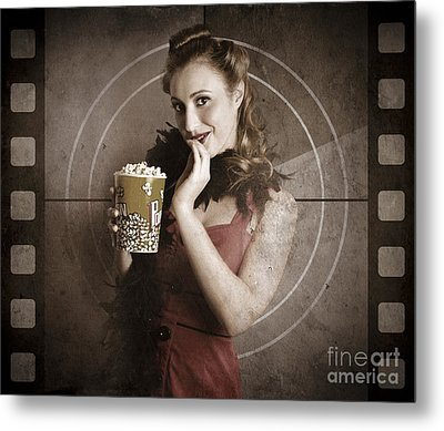 Beautiful Film Actress On Vintage Movie Screen Metal Print by Jorgo Photography - Wall Art Gallery
