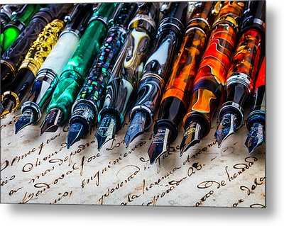 Beautiful Fountain Pens Metal Print by Garry Gay