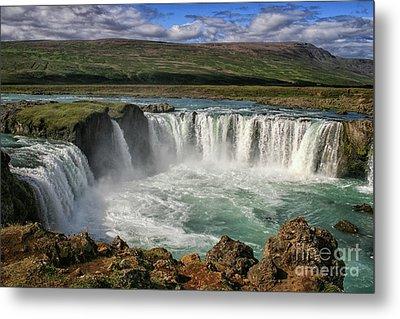 Beautiful Godafoss Waterfall In Iceland Metal Print