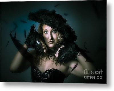 Beautiful Mystical Girl In Delicate Black Fashion Metal Print by Jorgo Photography - Wall Art Gallery