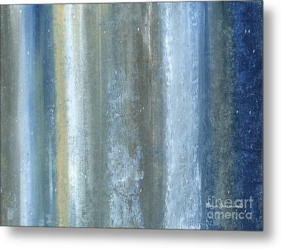 Beautiful Navy Blue And Gray Original Abstract Acrylic Painting Lakewood By Megan Duncanson Metal Print