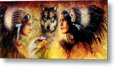 Beautiful Painting Of An Young Indian Man And Woman  Accompanied Metal Print by Jozef Klopacka