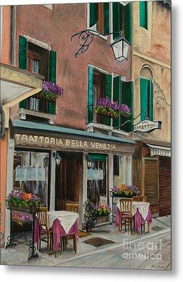 Beautiful Restaurant In Venice Metal Print by Charlotte Blanchard