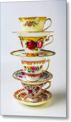 Beautiful Stacked Tea Cups Metal Print by Garry Gay