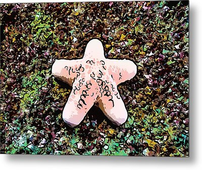 Beautiful Starfish In The Coral Reef Metal Print by Lanjee Chee