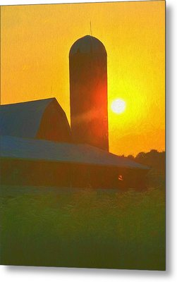 Beautiful Sunrise Over The Farm Metal Print