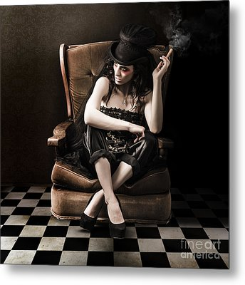 Beautiful Vintage Fashion Girl In Grunge Interior Metal Print by Jorgo Photography - Wall Art Gallery