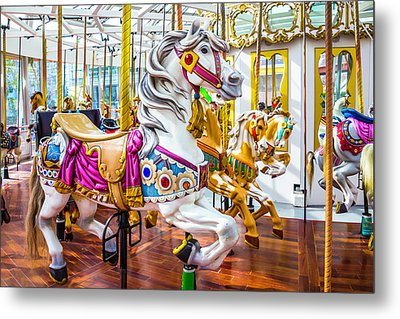 Beautiful White Carrousel Horse Metal Print by Garry Gay