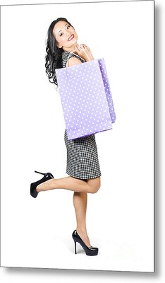 Beautiful Woman Holding Shopping Bags With Smile Metal Print