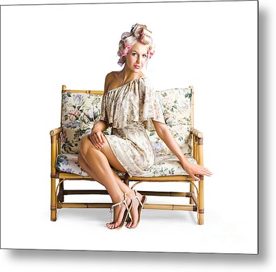 Beautiful Woman On Couch Metal Print by Jorgo Photography - Wall Art Gallery