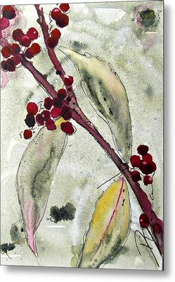 Beauty Berry Branch Metal Print by Dawn Derman