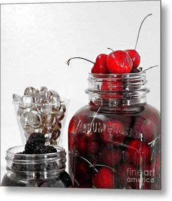 Beauty Of Red Cherries Metal Print by Sherry Hallemeier