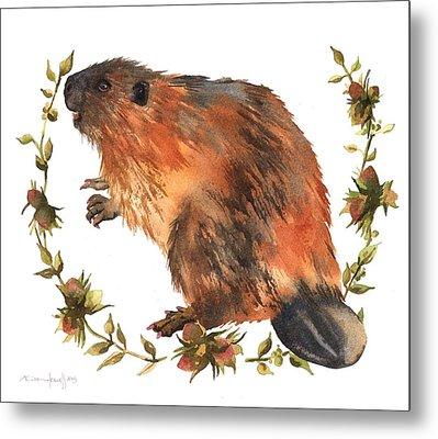 Beaver Painting Metal Print by Alison Fennell