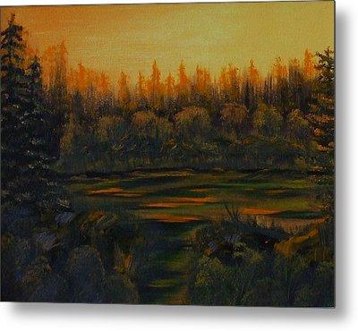 Beaver Pond At Sunset Metal Print by Rebecca  Fitchett