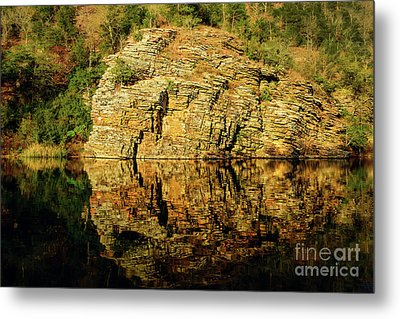 Beaver's Bend Rock Wall Reflection Metal Print by Tamyra Ayles