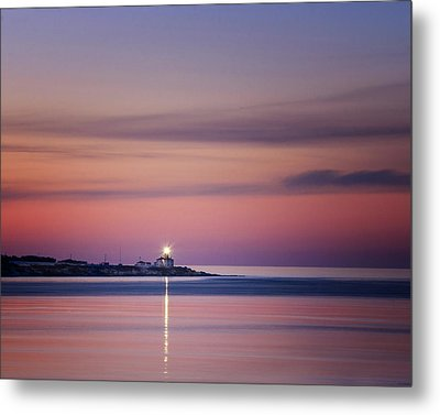 Beavertail Lighthouse In Pink And Purple Metal Print