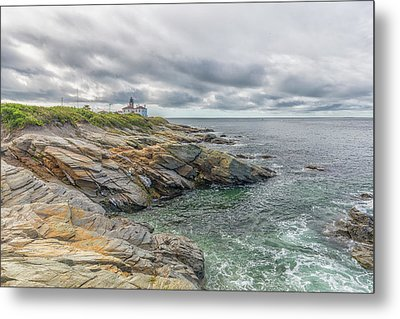 Beavertail Lighthouse On Narragansett Bay Metal Print