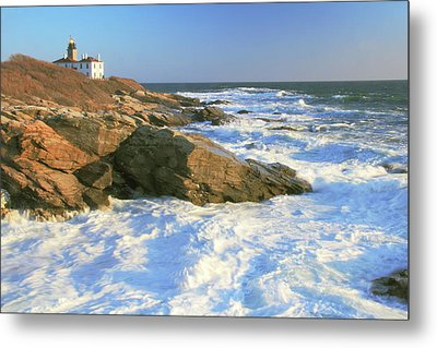 Beavertail Point And Lighthouse  Metal Print by Roupen  Baker