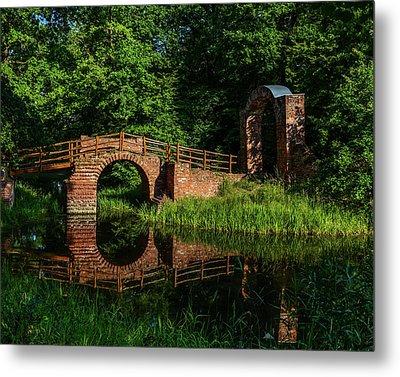 Beckerbruch Bridge Reflection Metal Print by Martina Thompson