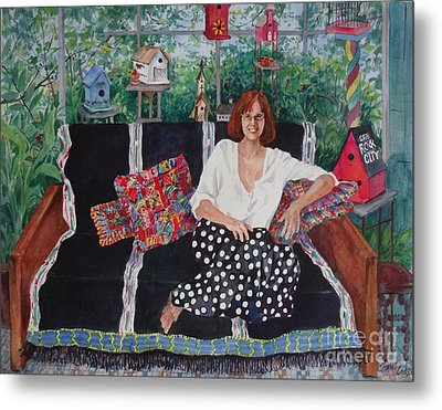 Becky At The Lake House Metal Print by Sherri Crabtree
