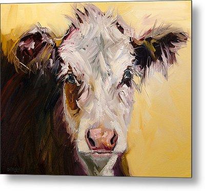Bed Head Cow Metal Print