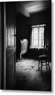 Metal Print featuring the photograph Bed Room Chair - Abandoned Building by Dirk Ercken